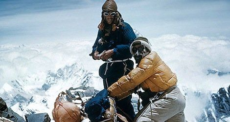 In 1953 the New Zealander Edmund Hillary and the sherpa Tenzing Norgay became the first climbers to reach the peak of Mount Everest; here they are seen on the south eastern crest on May 28th, the day before they reached the summit