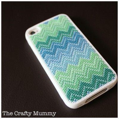 Chevron cross stitch iphone case...finally found a great tutorial!