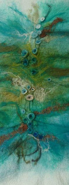 Rae Woolnough1 abstract contemporary textile art picture rockpool , seascape felt fiber art