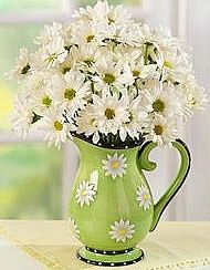 Beautiful daisy pitcher with fresh cut daisies...............modern country decorating ideas - Google Search
