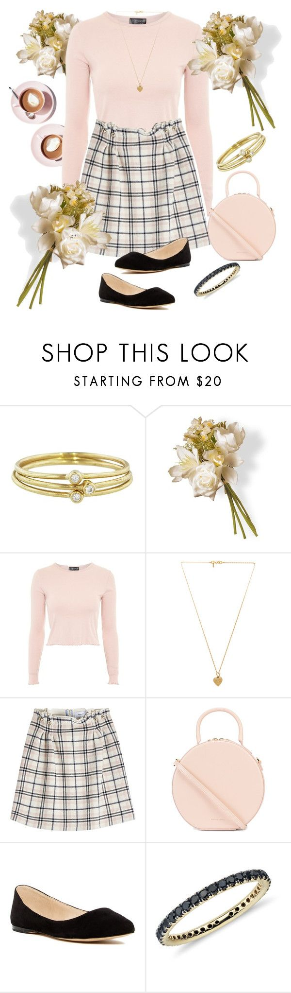 """""""Untitled"""" by valente-i ❤ liked on Polyvore featuring Jennifer Meyer Jewelry, National Tree Company, Topshop, Vanessa Mooney, Carven, Mansur Gavriel, Nine West and Blue Nile"""