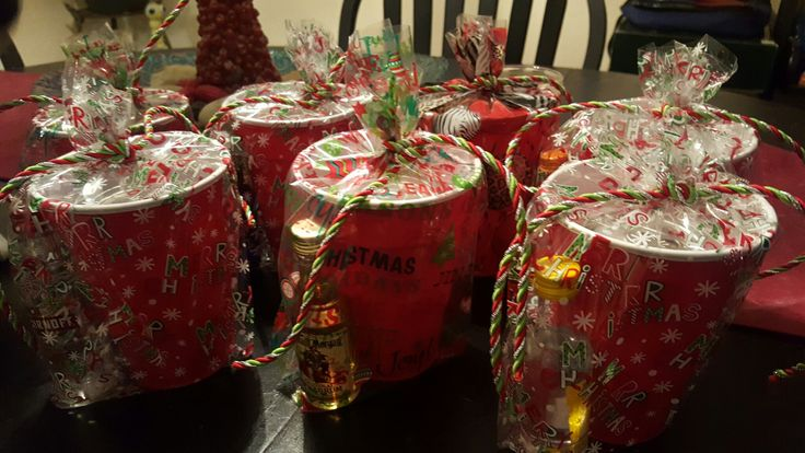 Inexpensive holiday gifts, mini alcohol bottles + soft drink mixers