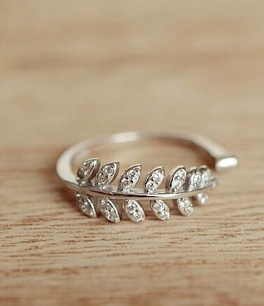 fashion bling leaf ring