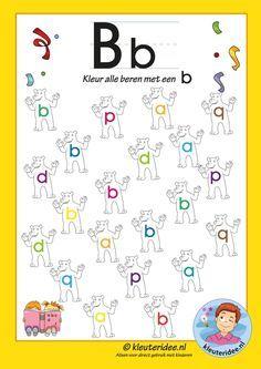 Pakket over de letter b blad 6, kleur alle beren met een b, letters aanbieden aan kleuters, kleuteridee, free printable.