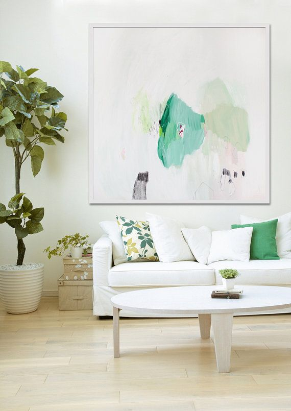 Hey, I found this really awesome Etsy listing at https://www.etsy.com/listing/190202681/large-abstract-painting-white-and-green