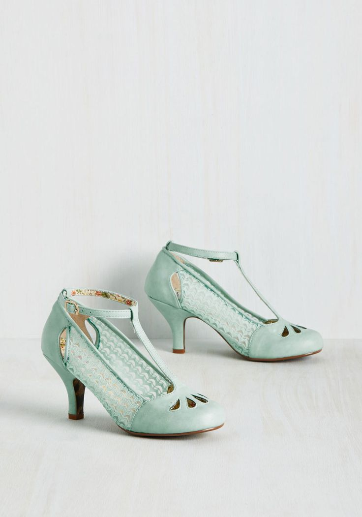 Cut to the Terpsichore Heel. When it comes down to it, youre a dancing queen, and these mint blue T-straps by Bettie Page support your hobby with great style! #mint #modcloth
