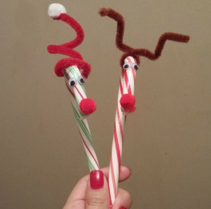 Candy cane Santa and reindeer
