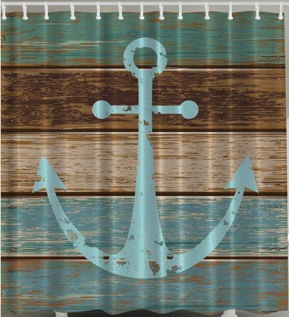 Anchor on Rustic Wood Custom Made  Shower Curtain   $36.00