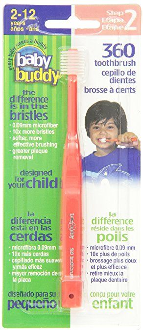 Baby Buddy 360 Toothbrush Step 2 Stage 6 for Ages 2-12 Years, Kids Love Them, Red