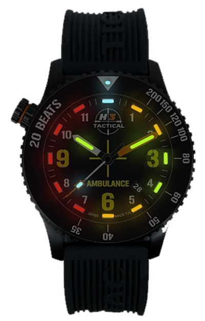 H3 Tactical H3.802831.12 Emergency Medical Technician EMT Color Tritium Watch Four Colors of Tritium, Steel Case and Rubber Dive Strap Watch from TopFlight Watches