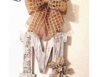 Black & cream distressed door hanger by TheLittleChandelier