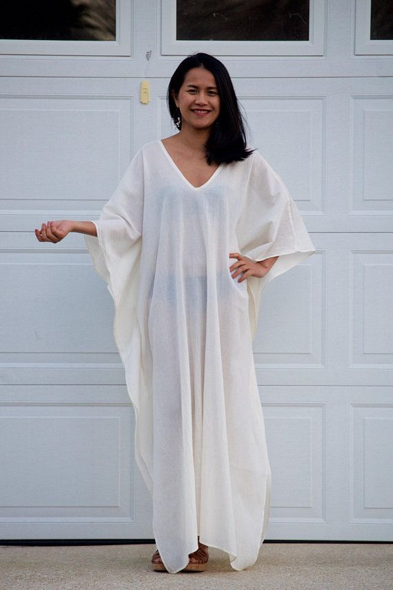 8f7256e1f6 White Gauze Caftan, Kaftan see through, Long Beach dress, Beach party dress,  Pool party dress, Sheer dresses, See though dress
