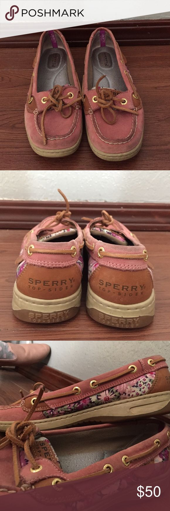 Light Pink Sperrys size 6 Light Pink Sperry's with floral pattern on side worn several times but still in great condition. Sperry Top-Sider Shoes