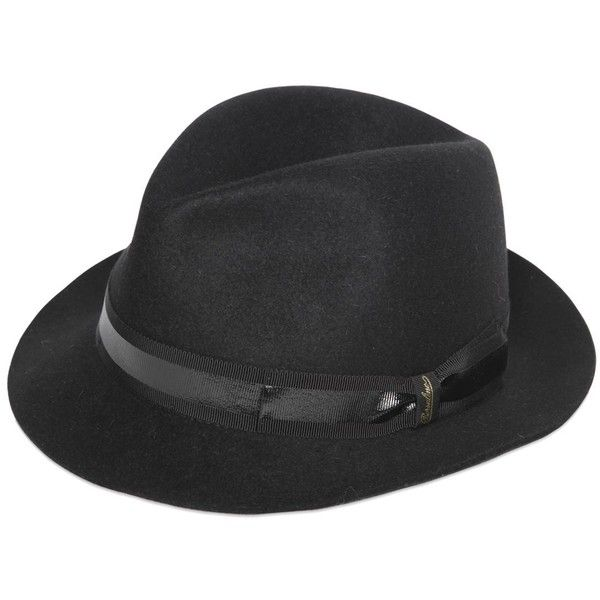 Borsalino Men Trilby Lapin Fur Felt Hat (3.313.495 IDR) ❤ liked on Polyvore featuring men's fashion, men's accessories, men's hats, black, mens hats, borsalino mens hats, mens trilby hats, mens felt hat and mens trilby