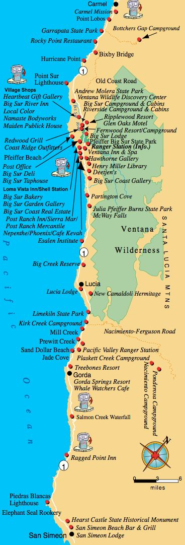 Maps, Directions, and Transportation to Big Sur California