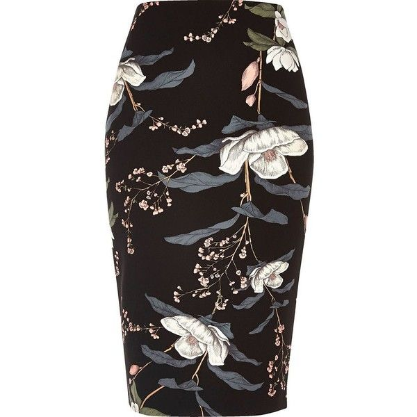 River Island Black floral print long length pencil skirt (£30) ❤ liked on Polyvore featuring skirts, bottoms, long skirts, knee length pencil skirt, midi skirt, floral skirt and floral-print pencil skirts