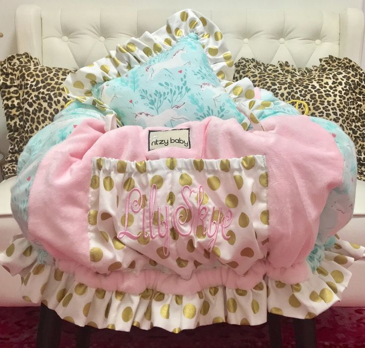 Ritzy Baby Designs, LLC - Baby Pink, Gold Dot, and Flannel Mint Unicorn Shopping Cart Cover, $109.00 (http://www.ritzybaby.com/baby-pink-gold-dot-and-flannel-mint-unicorn-shopping-cart-cover/)