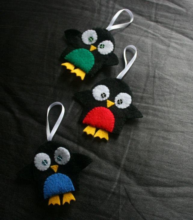 Felt Penguin Christmas Decorations (set 3)