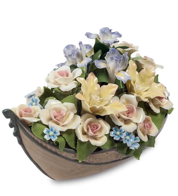 """Композиция """"Лодка с цветами"""" CMS-33/63 (Pavone)   Бренд: Pavone (Италия);      Страна производства: Китай;   Материал: фарфор;   Длина: 34 см;   Ширина: 18 см;   Высота: 19,5 см;   Вес: 2,4 кг;      #фарфор #цветы"""