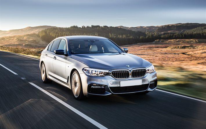 Descargar fondos de pantalla BMW 5, 4 k, 2017, el nuevo BMW, limusina, plata, clase de negocios, los coches nuevos, G30, los coches alemanes, BMW