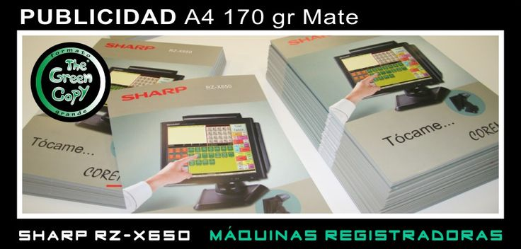 Impresión de Publicidad A4 para SHARP Máquinas - The Green Copy Imprenta Madrid - Villanueva de la Cañada