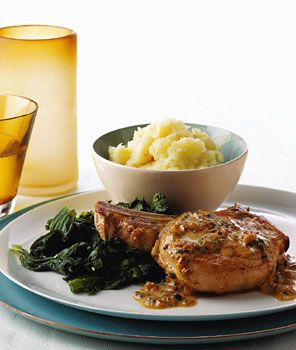 Pork Chops With Norman Cider Cream Sauce And Thyme Recipe — Dishmaps