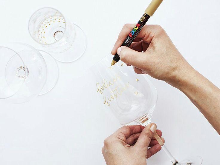 Copas de vino con lettering. Tutorial