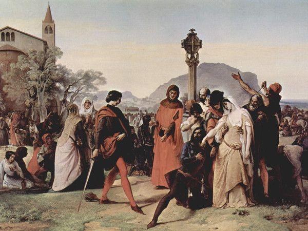 """""""I vespri siciliani"""", Francesco Hayez, 1846; olio su tela, 225x300 cm; l'opera, commissionata dal principe collezionista Vincenzo Ruffo, è attualmente esposta alla Galleria nazionale d'arte moderna, a Roma."""