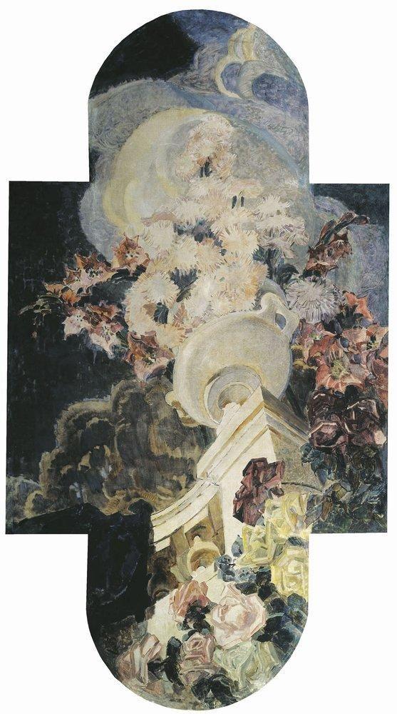М.А. Врубель - Хризантемы, 1894. Триптих Цветы для особняка Е.Д.Дункер в Москве. Цетральная часть триптиха