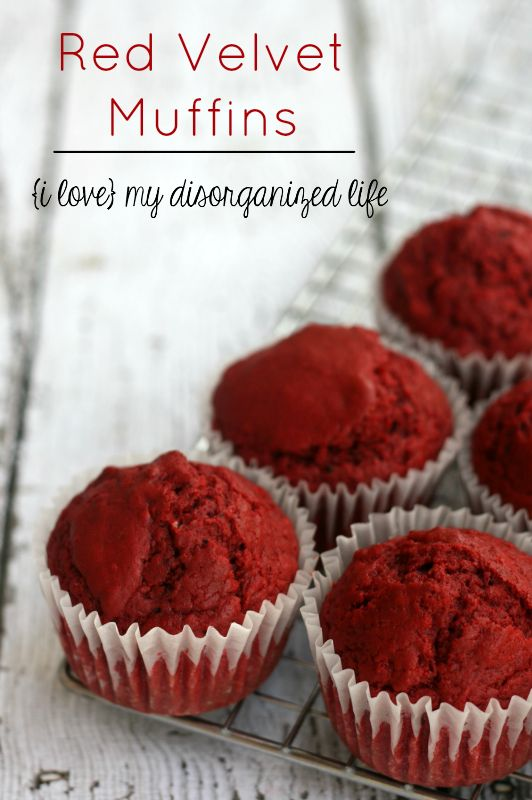 These Red Velvet Muffins from Scratch have just the slightest bit of sweetness and the perfect color of red!  #LorAnnOils #OBC14