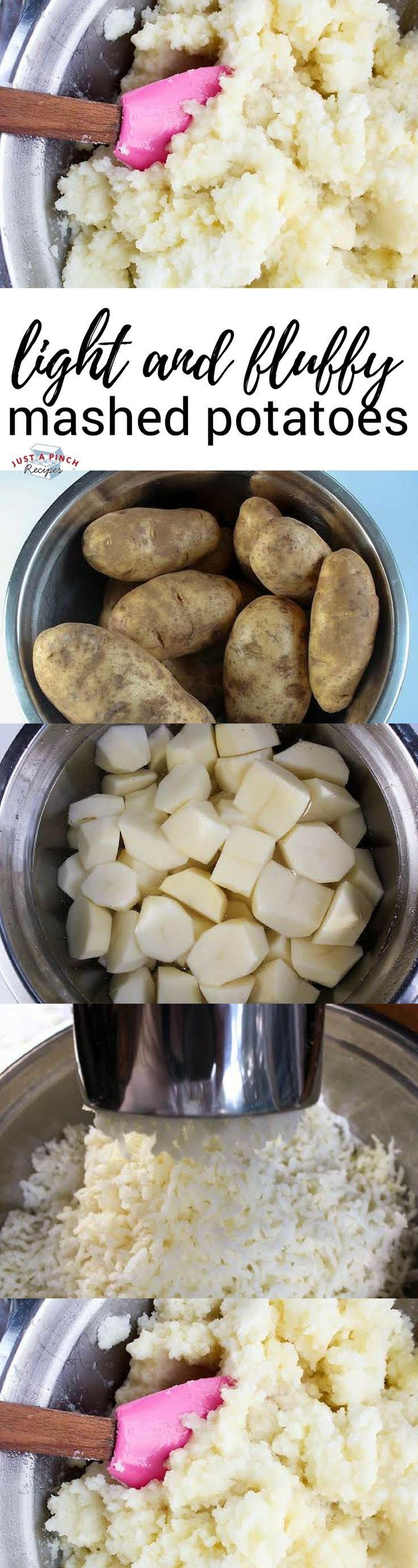 Easy light and fluffy mashed potatoes recipe! #ThanksgivingRecipes #thanksgivingsides #mashedpotatorecipes #mashedpotatoes #potatorecipes #christmasrecipes #christmasdinner