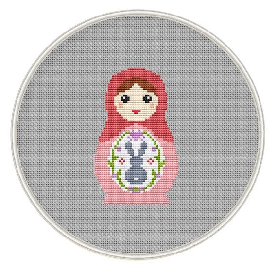 Counted cross stitch pattern, Instant Download, Free shipping, Cross-Stitch PDF, Easter cross stitch, Russian Doll, Matryoshka, Nesting Doll...