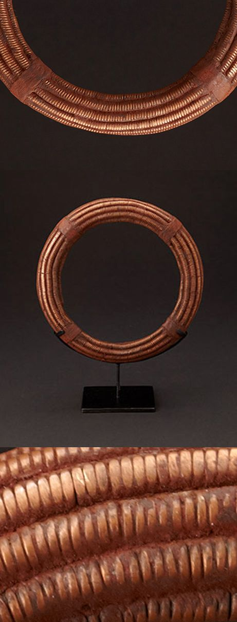 Africa | Necklace from the Himba people of Namibia | Copper, ochre, leather | 1,200$