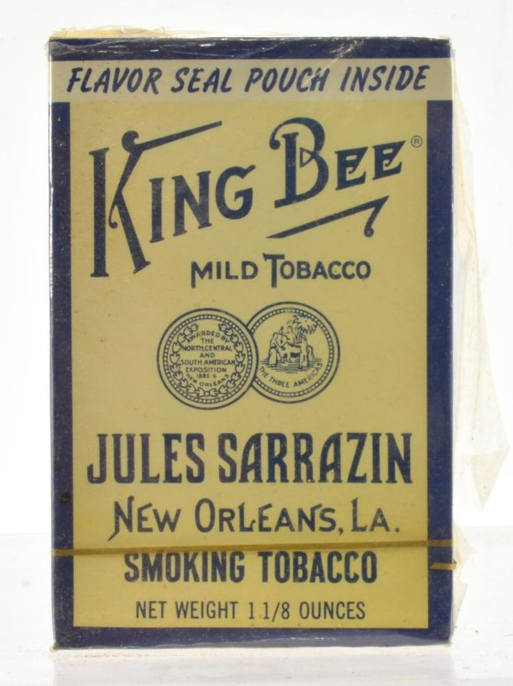 Buy online, view images and see past prices for King Bee Jules Sarrazin Smoking Tobacco Unopened Box New Orleans La. Invaluable is the world's largest marketplace for art, antiques, and collectibles.