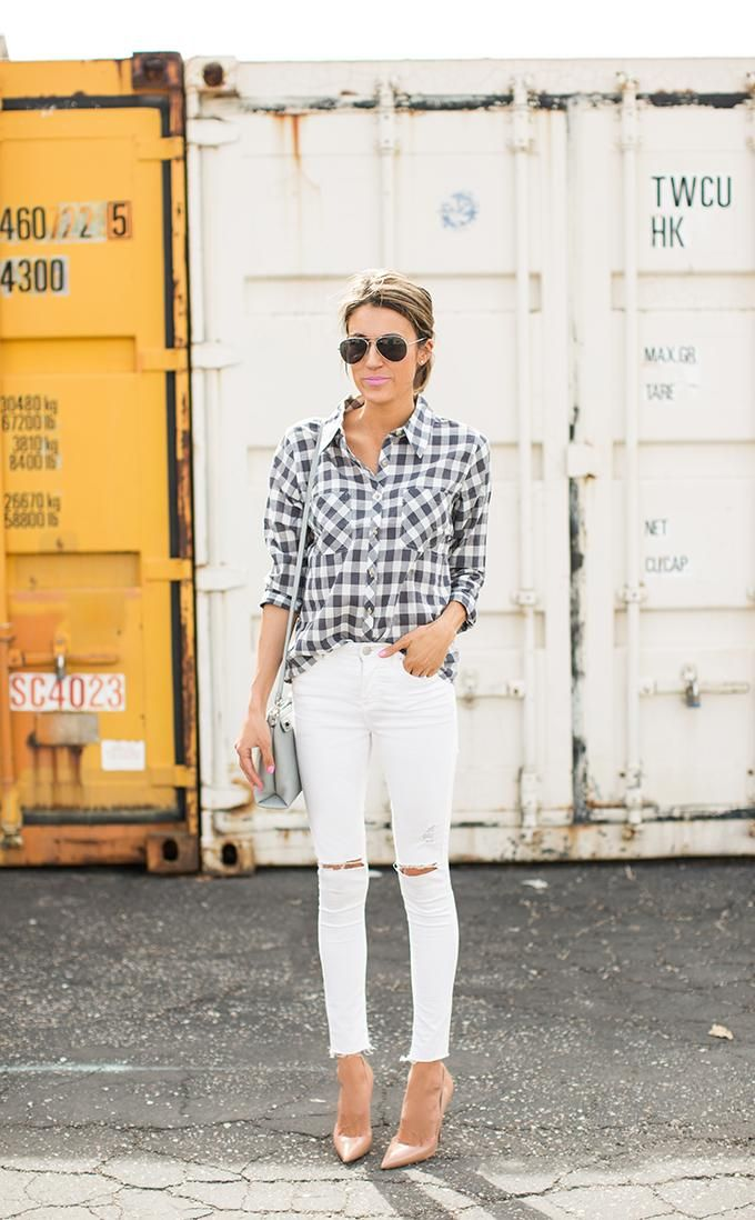 Summer Outfit Idea: White Jeans - plaid shirt tucked into white skinny jeans + nude pointy toe pumps