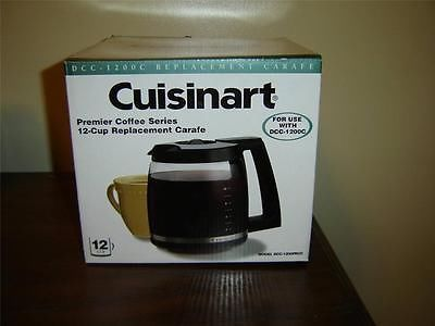 #Cuisinart #12_cup #replacement #carafe DCC 1200PRCC NIB (255A)  Cuisinart Premier Coffee Series 12 cup replacement carafe in black   Model DCC-1200PRCC   For use with Cuisinart DCC-1200C coffe makers   Brand new, still in the original box   Easy to use   Ergonomic design   Easy cleanup   06112013PENI108B