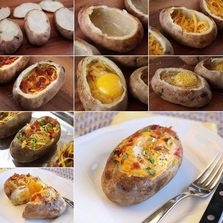 Egg-Stuffed Baked Potatoes http://www.1mrecipes.com/egg-stuffed-baked-potatoes/ Like www.1mrecipes.com for more healthy meals from around the world. <3