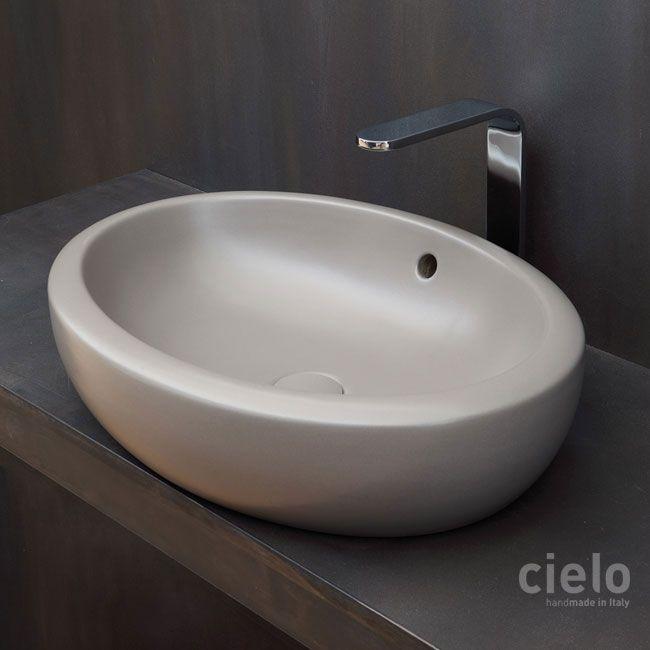 Lavabo da appoggio 60 Bianco Fluid - Lavabo Bianco da bagno Ceramica Cielo