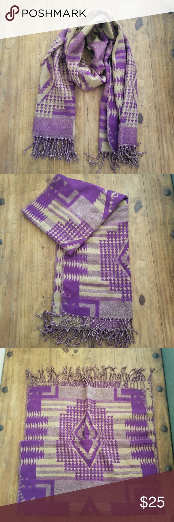 NWOT❕ Purple & Camel Scarf Never Been Worn Cute Print Very Soft 100% Acrylic  BUNDLE & SAVE Accessories Scarves & Wraps