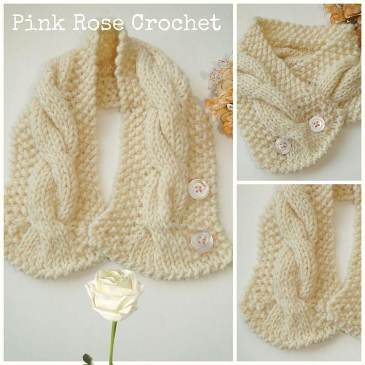PINK ROSE CROCHET: Gola Pérola com Tranças de Tricô - Receita