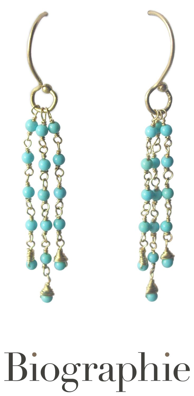 Long Turquoise Earrings In 18k Yellow Gold At Biographie Now