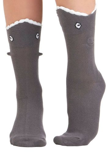 Grab a Bite Socks - Grey, White, Print with Animals, Quirky, Knitted, Best Seller, Under $20, Top Rated, Nautical
