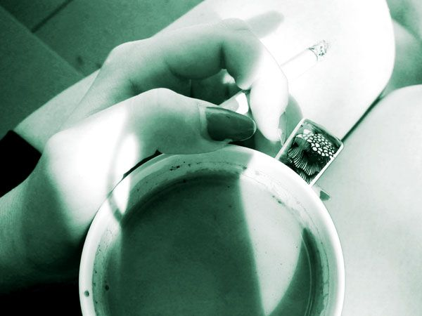 Just cofee and cigaretes.