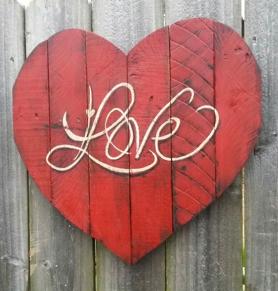 Shabby+Chic+Handmade+Reclaimed+Pallet+Wood+LOVE+by+SeasideRelics,+$38.95