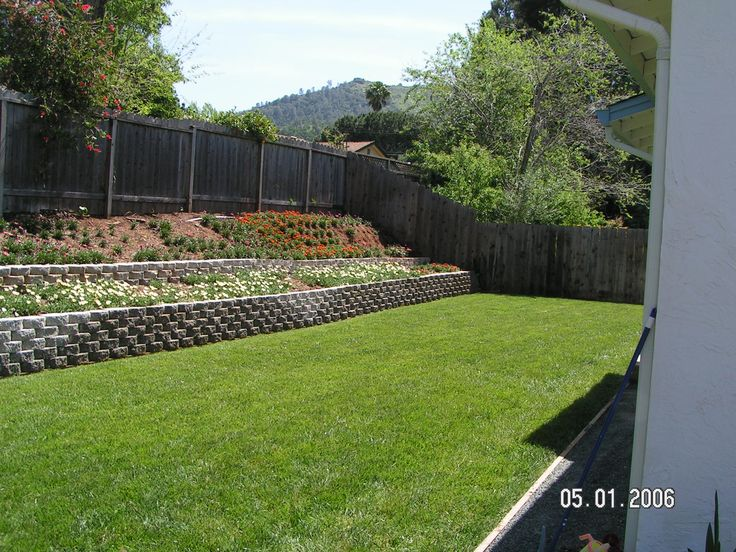Retaining wall but with white fencing to fix back for Wall designs for yard