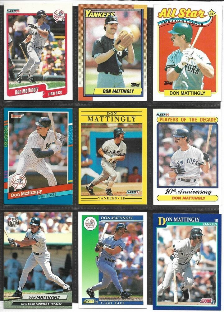 Don Mattingly Baseball Card Lot Of 9 Different Cards 1990 1992 New York Yankees Newyorkyankees In 2020 Don Mattingly Baseball Cards New York Yankees