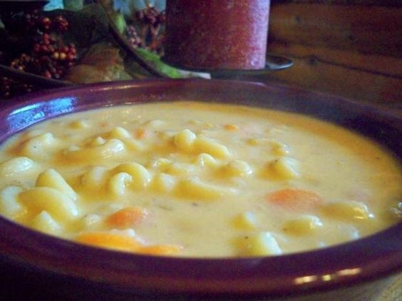 Macaroni & Cheese Soup.....I added 1 tsp. black pepper, 4 shakes hot sauce, 1/2 tsp. garlic powder and used 2 cups cheese.