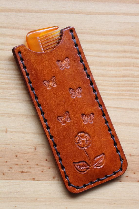 Flower Pocket Comb Case Butterfly Comb Cover by TinasLeatherCrafts. Repin To Remember.