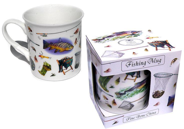 Cana de cafea de portelan fin pentru pescari- Idei de cadouri pentru barbatii pasionati de pescuit