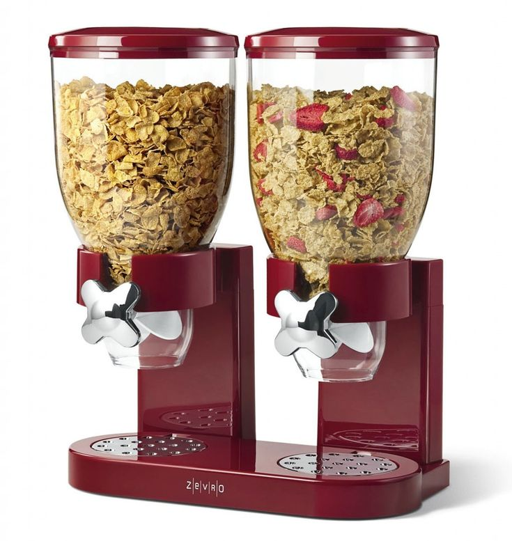 ZEVRO Indispensable Dry Food Dispenser, Double Classic Red, Müsli Spender
